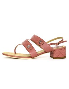 Chanel Calfskin Leather Quilted Turnkey Classic Dark Blush Sandals