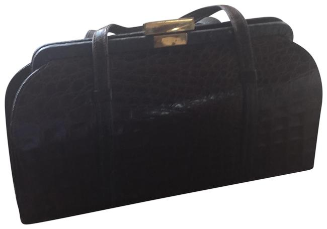 Item - Vintage Brown Crocodile Skin Leather Clutch