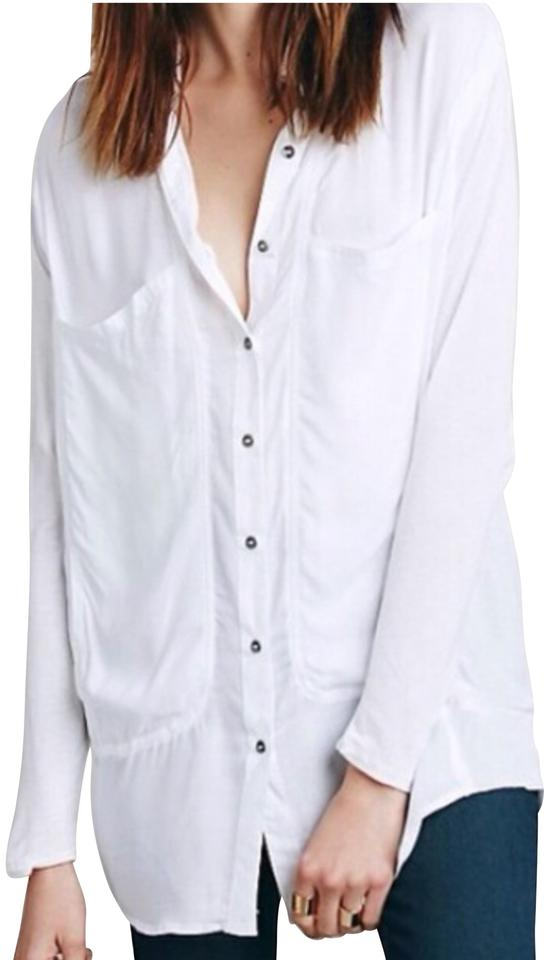 c8c8236e982d5f Free People Breakfast In Bed White Shirt Button-down Top Size 6 (S ...