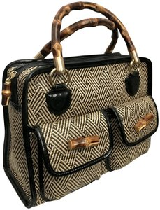 Talbots Weave Patent Leather Bamboo Gold Hardware Two-tone Satchel in Black/Tan