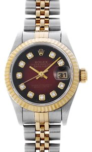 Rolex 18k/Ss Ladies Datejust with Red Diamond Dial Watch