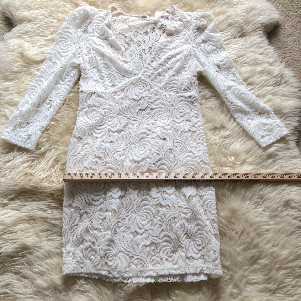a492d801ba Free People Off White Long Sleeve Textured Lace Deep V-neck Short ...