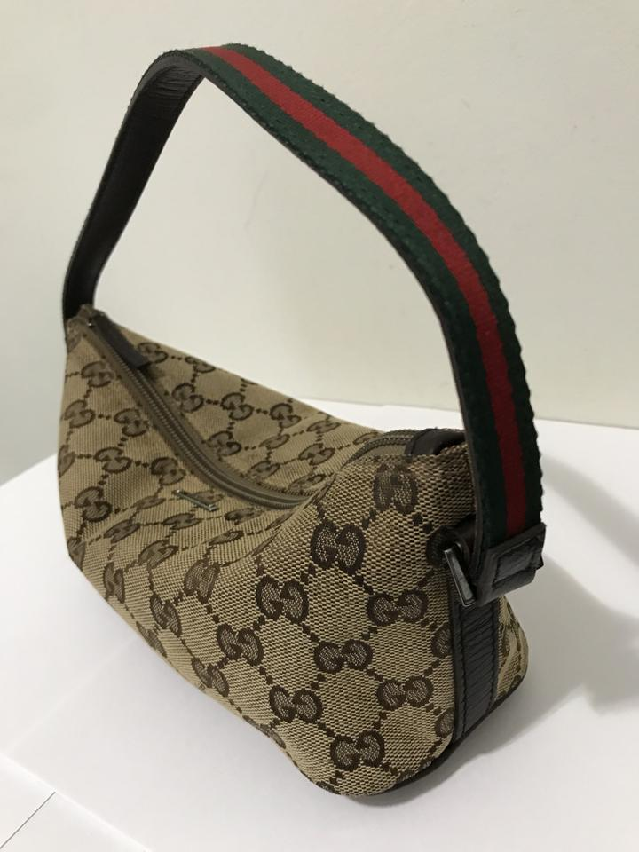 59a7ecdc3545 Gucci Brown Gg Monogram Canvas Clean Pochette Cosmetic Bag - Tradesy