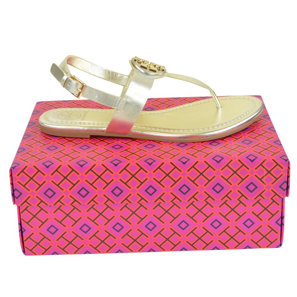 e82025642 Tory Burch Spark Gold Bryce Flat Veg Leather Sandals Size US 8 ...