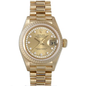 Rolex 18k Gold Ladies Datejust Presidential with String Diamond Dial Watch