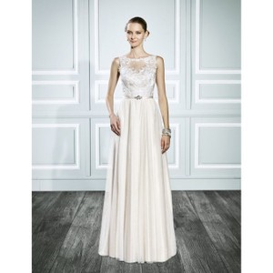 Moonlight Bridal Ivory Style T697 Bohemian Gold Gown Casual Wedding Dress Size 4 (S)