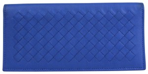 Bottega Veneta Blue Leather Intercciaco Woven Long Bifold Wallet 390878 4315