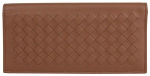 Bottega Veneta Medium Brown Leather Woven Long Bifold Wallet 390878 2531
