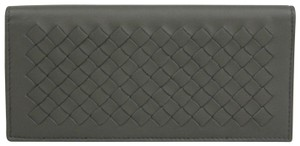 Bottega Veneta Gray Leather Intercciaco Woven Long Bifold Wallet 390878 1300