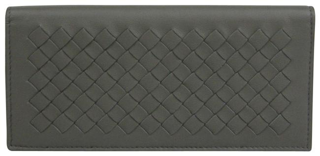 Item - Gray Leather Intercciaco Woven Long Bifold 390878 1300 Wallet