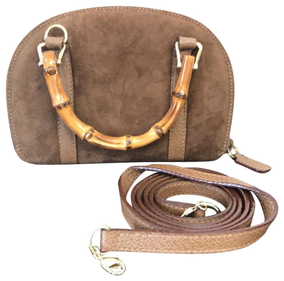e58bfcd6b71737 Gucci Bamboo Wallet Chain Brown Suede and Leather Cross Body Bag ...