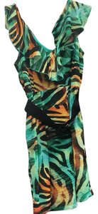 Bisou Bisou short dress green black yellow on Tradesy