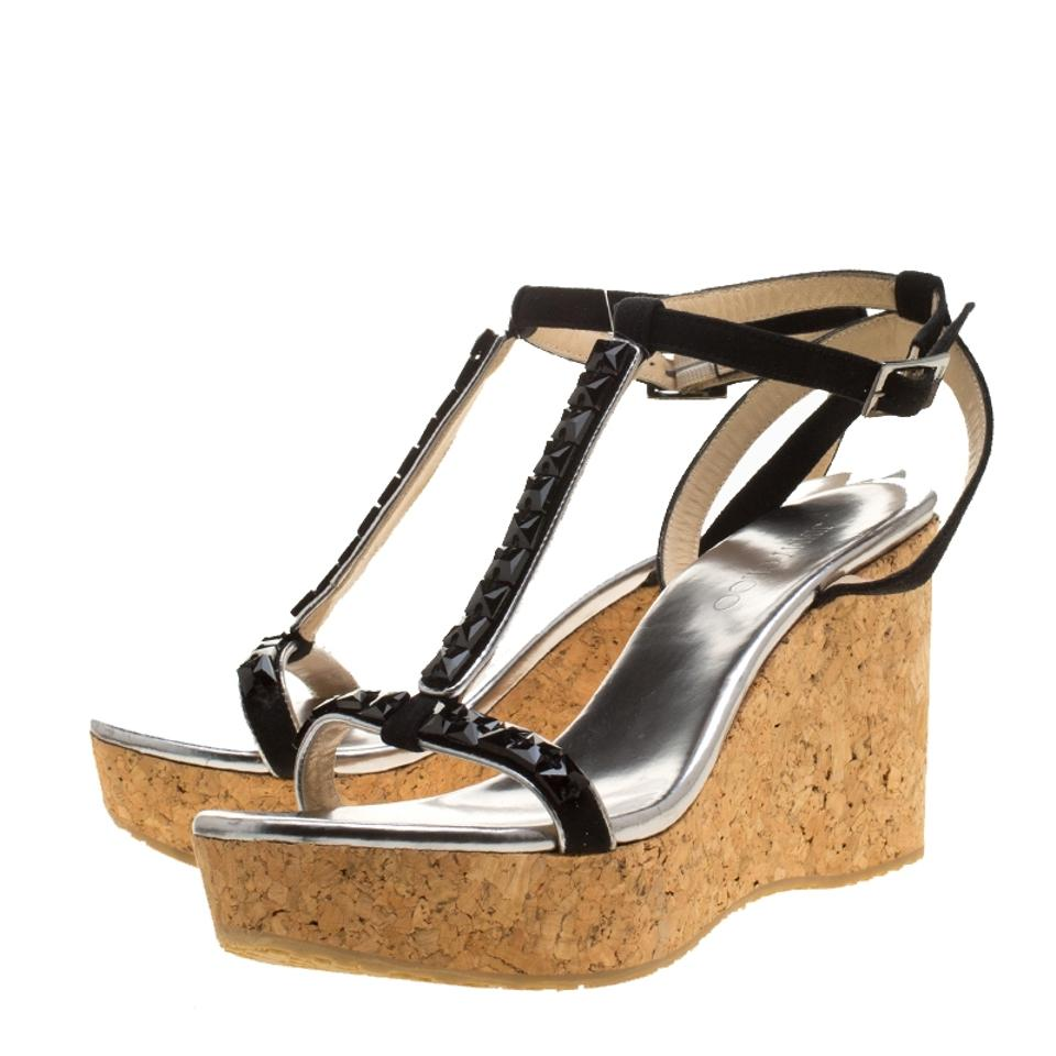 Jimmy Choo Black Crystal Embellished Suede and Wedge Silver Leather Natsby Cork Wedge and Sandals 3f08cc
