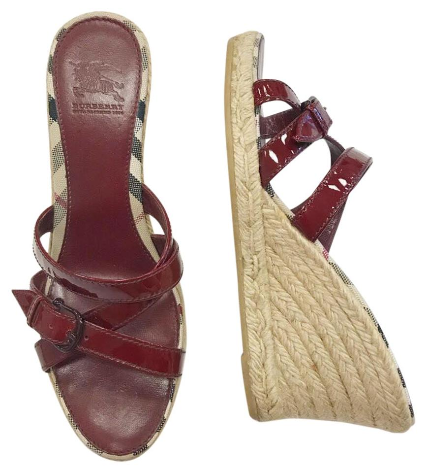 37ea9b09834 Burberry Red Patent Leather Espadrille Wedge Sandals Size EU 39 ...