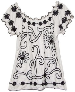 Lauren Michelle Embroidered Beaded Top White and Black