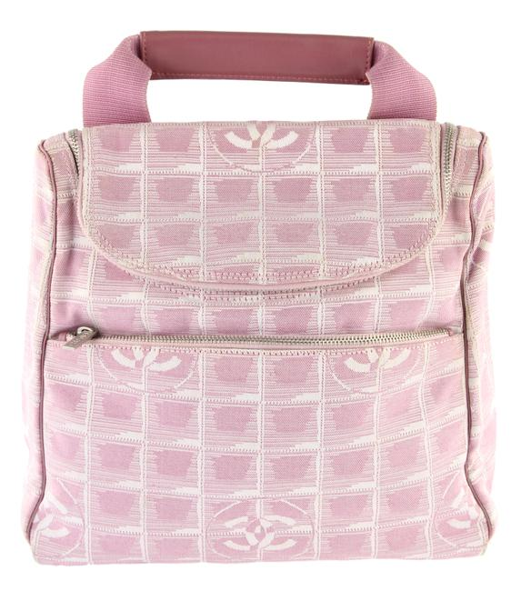Item - Travel Line Convertible Pink and White Canvas Backpack