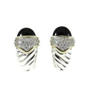 David Yurman David Yurman Sterling Silver 18K Black Onyx Diamond Capri Earrings