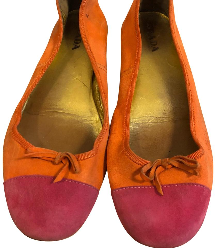 Prada Fuchsia and and and Orange Suede Colorblock Cap-toe Flats 4bcf5d