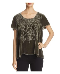 7a7bfab942e33c Johnny Was Velvet Silk Embroidered Short Sleeve Scoop Neckline Top hunter  green
