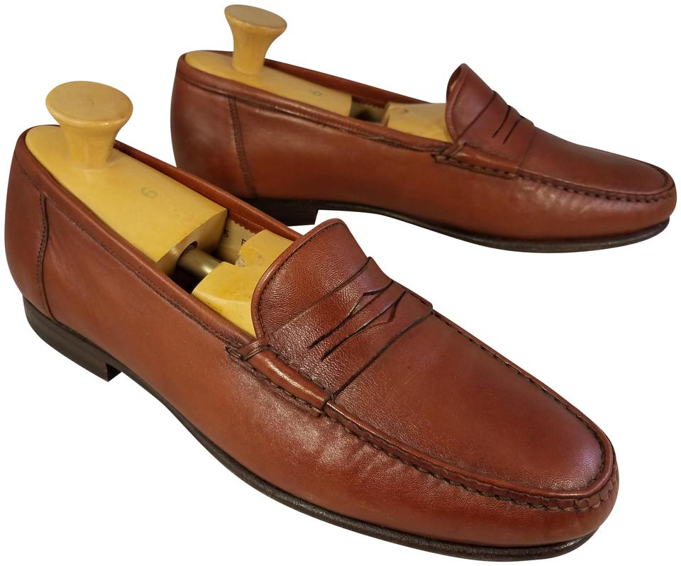new arrival 4ab15 15004 Santoni Brown Man Penny Loafers Formal Shoes Size US 9.5 Wide (C, D)