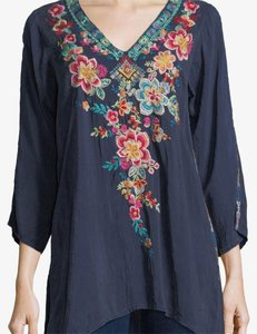 Johnny Was Tunic Embroidered Boho Floral Top dawn blue