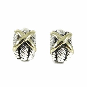 David Yurman David Yurman Sterling Silver 14K Wide Triple Row X Dome Earrings