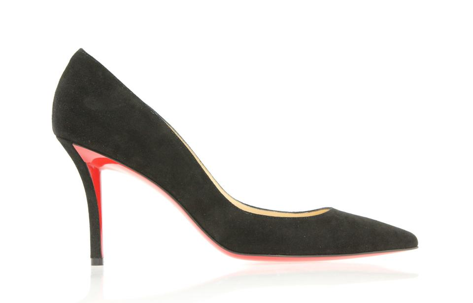 wholesale dealer bdcaf 49890 Christian Louboutin Black Apostrophy 85 Suede Pumps Size EU 37.5 (Approx.  US 7.5) Regular (M, B) 23% off retail