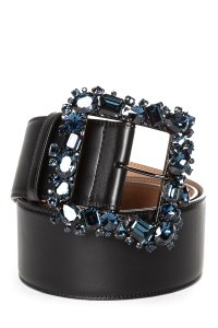 Escada ESCADA Black Leather & Indigo Crystal Belt NWT