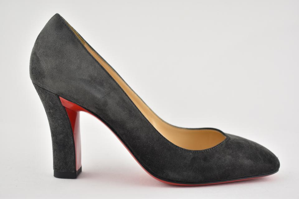 3f442bb2e698 Christian Louboutin Grey Viva 85 Charbon Suede Square Top Classic Block  Heel Pumps Size EU 36.5 (Approx. US 6.5) Regular (M