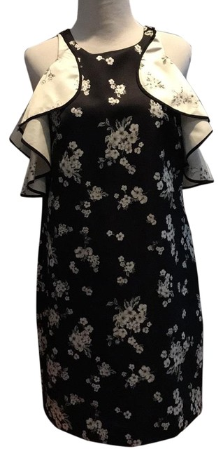 Item - Black/White Jennifer Blossom Cold Shoulder Ruffle Mid-length Cocktail Dress Size 4 (S)