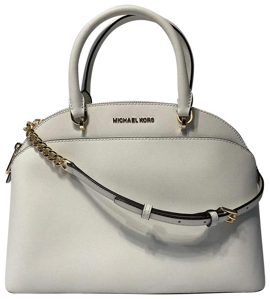 bd5c8ca9e93d Michael Kors Leather Crossbody Shoulder Satchel in Optic White Image 0 ...