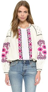 Free People Embroidered White Jacket
