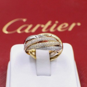 Cartier Tri-color Six Row Trinity Pave Diamond Ring 18 Karat Rose and White Gold Women's Wedding Band
