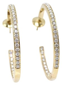 Cartier Inside Out Round Diamond Hoop Earrings 1.80TCW 18 Karat Yellow Gold