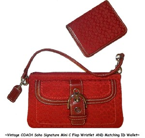 Coach Set Vintage Wallet Set Wristlet in Cardinal Red/Silver/White/Brown