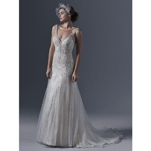 Sottero and Midgley Light Gold/Pewter By Maggie Gwyneth Gown Retro Wedding Dress Size 10 (M)