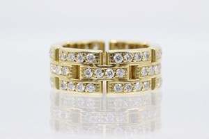Cartier F G Maillon Panthere Link Diamond Ring 3 Row 18k Yellow Gold Women's Wedding Band