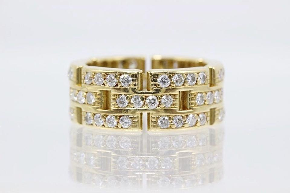 3607cfcb61298 Cartier F G Maillon Panthere Link Diamond Ring 3 Row 18k Yellow Gold  Women's Wedding Band Image ...