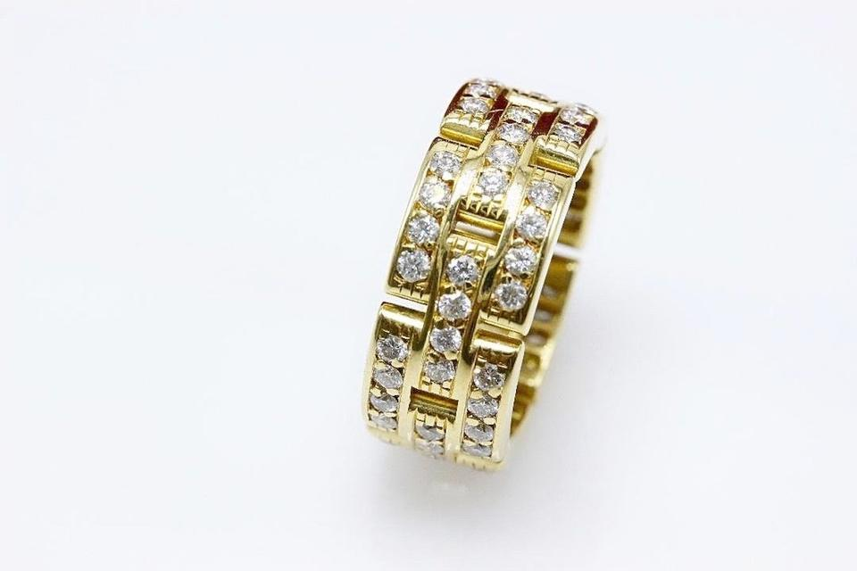 1752be61102d5 Cartier F G Maillon Panthere Link Diamond Ring 3 Row 18k Yellow Gold  Women's Wedding Band Image. 123456789101112