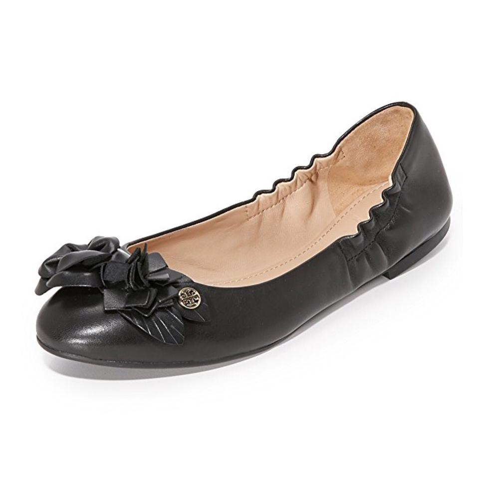 7a5feb9015f Tory Burch Black Blossom Leather Floral Logo Ballet Flats Size US 8 ...