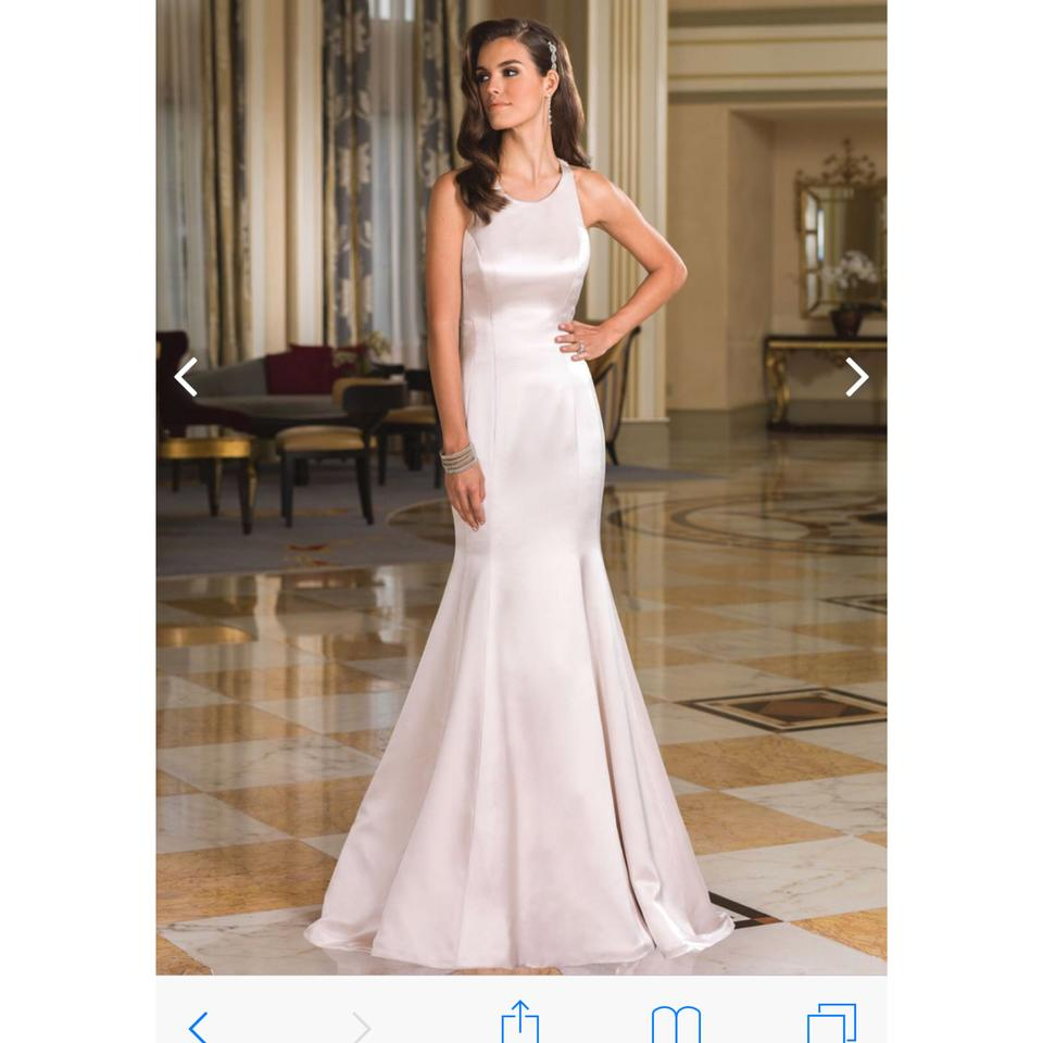 Justin Alexander Ivory/Silver / Nude Charmeuse Fit and Flare Racer ...