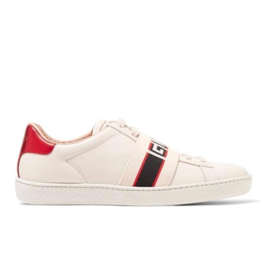 bc935ebfa69 Gucci Ace Logo Stripe Leather Sneakers Size US 7 Regular (M, B ...