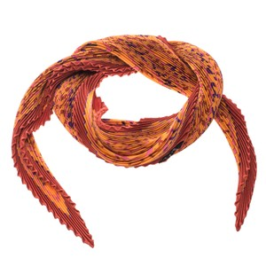 Hermès Orange Les Sources De La Vie Printed Plisse Silk Diamond Scarf