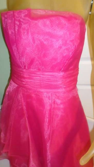 Item - Watermelon Pink Imported Polyester Chiffon F14335 Formal 4 Feminine Bridesmaid/Mob Dress Size 10 (M)