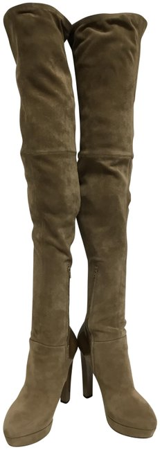 Item - Beige Suede Over The Knee Platform Boots/Booties Size EU 37.5 (Approx. US 7.5) Regular (M, B)