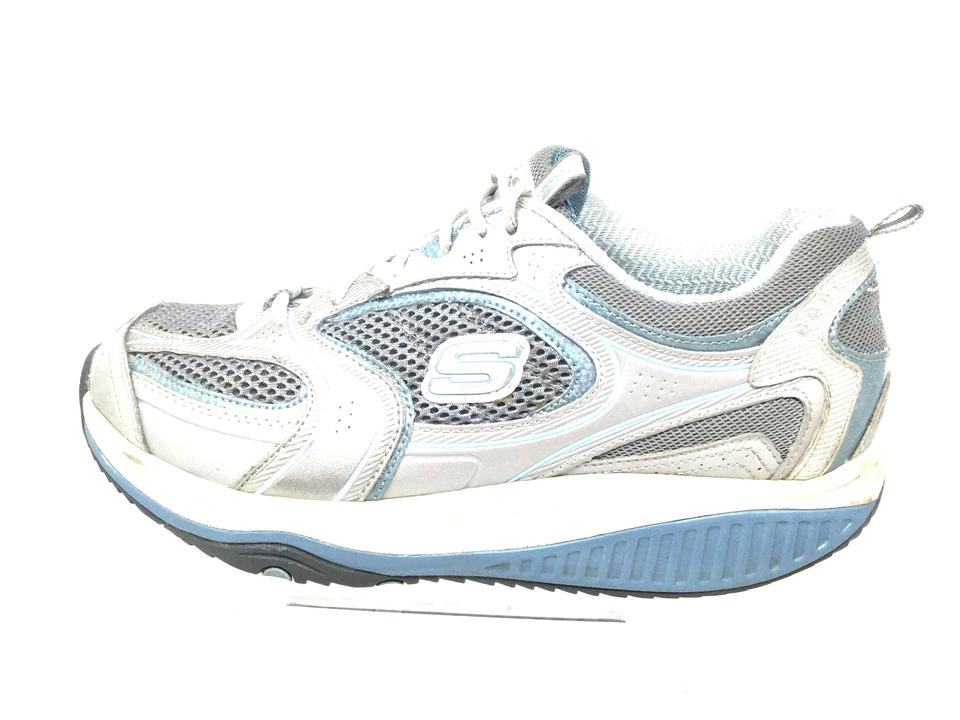 Skechers Gray Blue Shape ups Women's Walking Toning Leather Sneakers Size US 8 Regular (M, B) 72% off retail