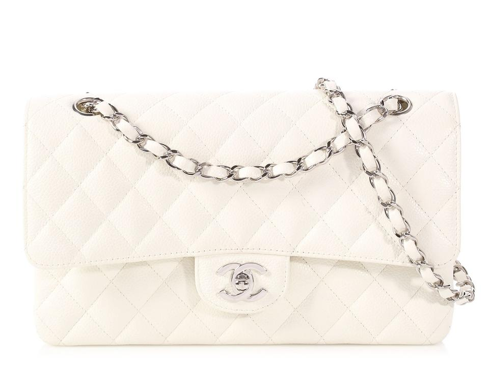92a10d3d2b29 Chanel Classic Double Flap **sold**classic Medium/Large Quilted Caviar White  Leather Shoulder Bag