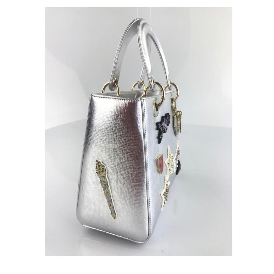 Dior Lady Dior Patch Embellished Leather Silver Satchel - Tradesy b6b5813c742af