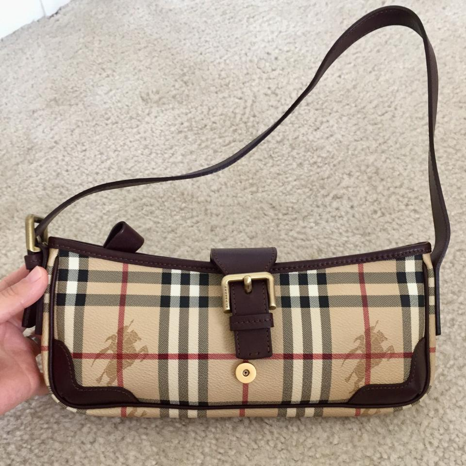 523bb69b2d Burberry Euc Vintage Haymarket Check Small Handbag Brown Leather & Pvc  Shoulder Bag - Tradesy