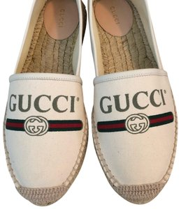 c76545641ac1 Gucci Logo Printed Canvas Leather Trimmed Espadrilles Flats Sneakers Size  US 10 Regular (M, B)